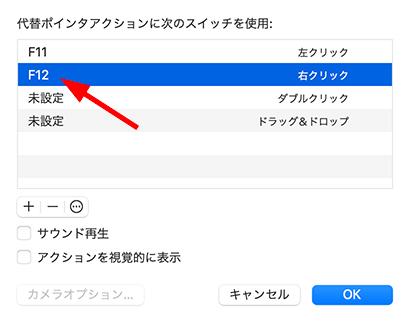 代替ポインタアクションの右クリック割り当てキー変更